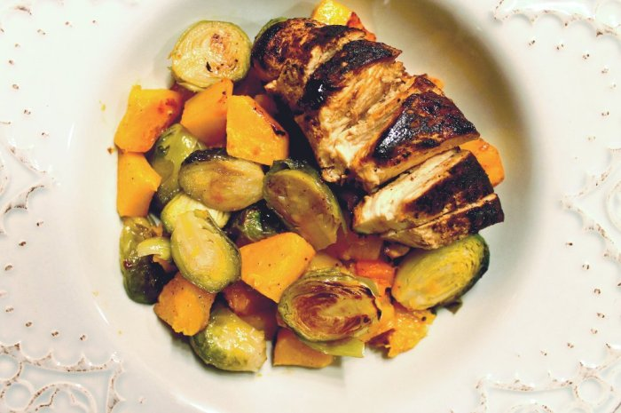 maple-glazed chicken, brussel sprouts & butternut squash // kitsch+camera